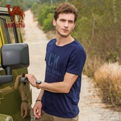 骆驼 2017夏季新款时尚休闲修身男装棉质字母印花圆领短袖T恤