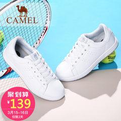 骆驼女鞋 女2017春季新款小白鞋女韩版运动系带百搭学生休闲板鞋