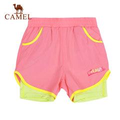 【2017新品】骆驼春夏薄款女童速干短裤儿童两件套运动沙滩裤