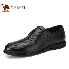 Camel/骆驼男鞋2017夏季新品真皮牛皮系带商务镂空 透气男士皮鞋