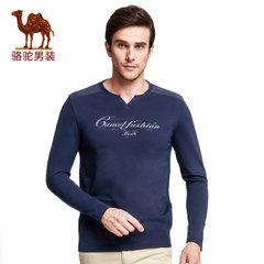 骆驼男装 2017春季新品时尚男士V领印花长袖T恤衫青年修身t恤男