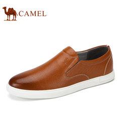 Camel/骆驼男鞋2017夏季新品男士皮鞋休闲鞋舒适套脚牛皮乐福鞋子