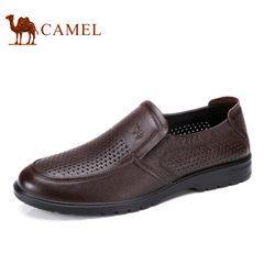 Camel/骆驼男鞋2017夏季新品商务休闲真皮套脚透气镂空男士皮鞋子