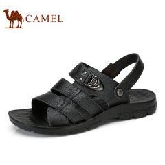 Camel/骆驼男鞋2017夏季新品男凉鞋沙滩鞋透气牛皮露趾男士凉鞋