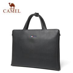 Camel/骆驼新款男士真皮手提包横款公文包男包牛皮单肩斜挎男包包
