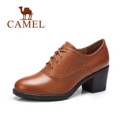 骆驼女鞋 2017春季新款英伦风单鞋 真皮系带高跟鞋复古粗跟鞋子