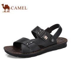 Camel/骆驼男鞋2017夏季新品沙滩鞋男士透气夏季牛皮露趾厚底凉鞋