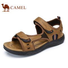 Camel/骆驼男鞋2017夏季新品户外休闲凉鞋透气舒适牛皮魔术贴凉鞋