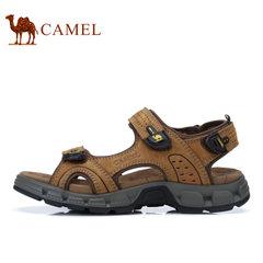 【断码清仓】Camel/骆驼男鞋户外凉鞋沙滩鞋男士透气牛皮露趾凉鞋