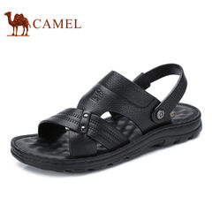Camel/骆驼男鞋2017夏季新品日常休闲清爽牛皮凉鞋露趾沙滩凉鞋男