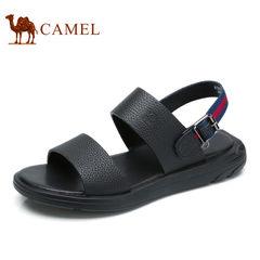 Camel/骆驼男凉鞋2017夏季新款休闲百搭时尚凉鞋男真皮露趾沙滩鞋