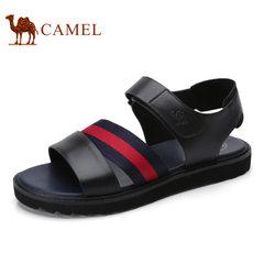 Camel骆驼男鞋 2017夏季新品牛皮男士休闲韩版沙滩鞋男式凉鞋潮