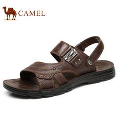 Camel/骆驼2017夏季新款牛皮沙滩鞋真皮休闲男士凉鞋男鞋凉拖鞋