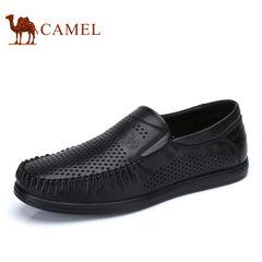 Camel/骆驼男鞋2017夏季新品镂空透气皮鞋商务休闲鞋真皮男士皮鞋