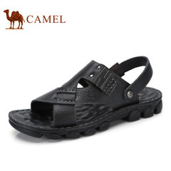 Camel/骆驼男鞋2017夏季新品凉鞋沙滩鞋子男士透气牛皮露趾凉鞋