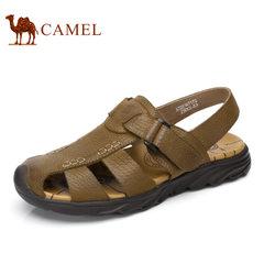 Camel/骆驼男鞋2017夏季新品户外休闲包头防撞牛皮透气男士凉鞋