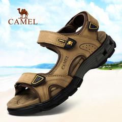 Camel/骆驼男凉鞋夏季头层牛皮露趾沙滩鞋防滑减震魔术贴户外凉鞋