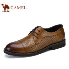 Camel骆驼男鞋 2017春季新品商务休闲简约系带柔软牛皮男士皮鞋