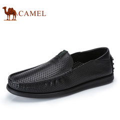 Camel骆驼男鞋 2017夏季新品男士商务简约透气牛皮休闲套脚皮鞋
