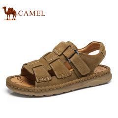 Camel/骆驼男凉鞋2017夏季新款牛皮手工缝制户外休闲沙滩鞋凉鞋男