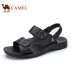 Camel骆驼男鞋 2017夏季新品日常休闲牛皮凉鞋露趾沙滩凉鞋男