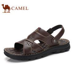 Camel骆驼男鞋 2017夏季新品日常休闲露趾舒适厚底牛皮沙滩凉鞋男
