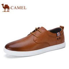 Camel骆驼男鞋 2017夏季新品日常时尚休闲舒适牛皮系带男士皮鞋