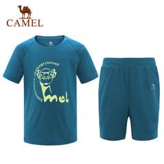 【2017新品】骆驼童装休闲针织套装 男女童运动t恤短裤两件套