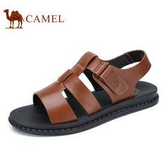 Camel/骆驼男鞋2017夏季新品牛皮露趾沙滩凉鞋日常休闲透气凉鞋男