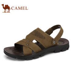 Camel骆驼男鞋 2017春夏季新款男士日常休闲透气牛皮露趾沙滩凉鞋