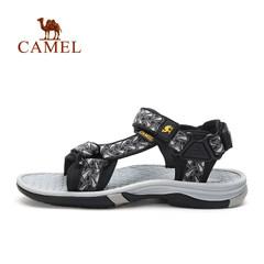 Camel骆驼户外男款沙滩鞋 2017夏季魔术贴提花织带缓震舒适凉鞋男