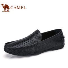 Camel/骆驼男鞋2017夏季新品豆豆鞋男驾车鞋镂空牛皮洞洞皮鞋子
