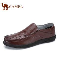 Camel/骆驼男鞋2017夏季新品牛皮商务休闲冲孔透气镂空男士皮鞋