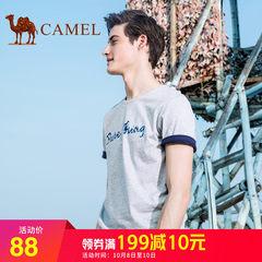 骆驼男装字母印花T恤衫 2018夏季时尚休闲圆领纯棉短袖体恤