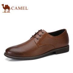 Camel/骆驼男鞋2017夏季新品镂空透气鞋商务休闲鞋系带牛皮男鞋子