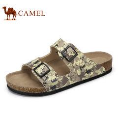 Camel/骆驼男鞋2017夏季新品时尚休闲迷彩风软木拖鞋防滑平底拖鞋