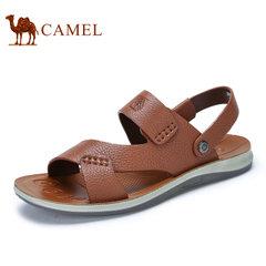 Camel/骆驼男鞋2017夏季新品休闲男士凉鞋真皮软底沙滩鞋防滑凉拖