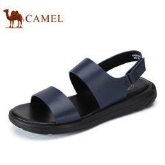 Camel/骆驼男鞋2017夏季新品时尚休闲凉鞋牛皮露趾沙滩鞋凉鞋男
