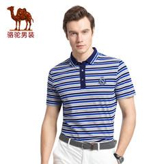 骆驼男装 2017年夏季新款绣标翻领条纹POLO衫商务休闲男士短袖T恤