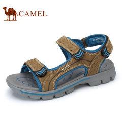 Camel/骆驼男鞋2017夏季新品户外休闲沙滩鞋男士透气牛皮露趾凉鞋