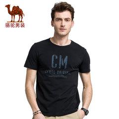 骆驼男装 2017夏季新款时尚休闲多色字母印花圆领男青年短袖T恤