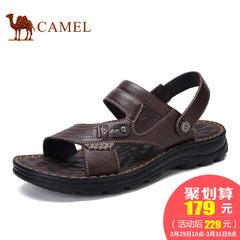 CAMEL骆驼男凉鞋 2017夏季新品日常休闲露趾舒适厚底牛皮沙滩鞋男