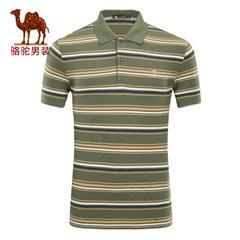 骆驼男装 2017年夏季新款翻领条纹绣标POLO衫商务休闲男短袖T恤衫