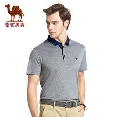 骆驼男装 2017年夏季新款翻领纯色绣标商务休闲男青年短袖T恤衫