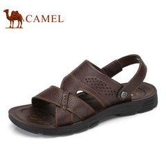Camel/骆驼男鞋2017夏季新品凉鞋男沙滩鞋真皮休闲鞋露趾牛皮凉鞋