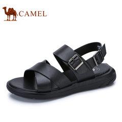 Camel/骆驼男鞋2017夏季新品凉鞋沙滩鞋子男士透气牛皮露趾凉鞋子