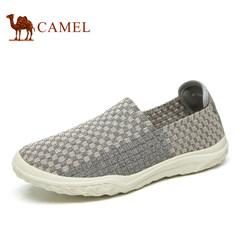 Camel/骆驼男鞋2017春季新品情侣款轻质舒适透气套脚时尚编织鞋