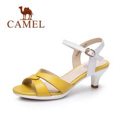 Camel/骆驼女鞋 2017春夏新款 真皮气质通勤时尚酒杯细跟凉鞋