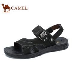 Camel/骆驼男鞋2017夏季新品夏日清爽透气露趾柔韧牛皮男士凉鞋