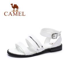 Camel/骆驼女鞋 2017夏季新款 休闲百搭低跟罗马凉鞋 皮带扣凉鞋